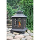 Vintage Antique Bronze Fireplace with PVC Cover and Poker | for Your Backyard, Patio, Deck & Garden or BBQ Grill
