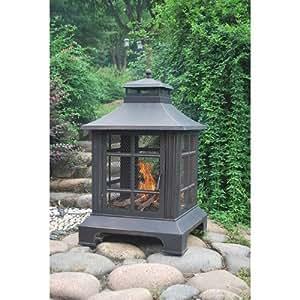 Diseño Vintage de bronce chimenea con cubierta de PVC y póquer | para su patio, Patio, Deck y jardín o barbacoa
