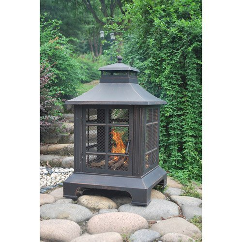 Vintage Antique Bronze Fireplace with PVC Cover and Poker | for Your Backyard, Patio, Deck & Garden or BBQ Grill by Mainstay