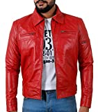 Laverapelle Men's Genuine Lambskin Leather Jacket (Red, Custom, Polyester Lining) - 1501200