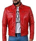 Laverapelle Men's Genuine Lambskin Leather Jacket (Red, Custom, Polyester Lining) - 1501200
