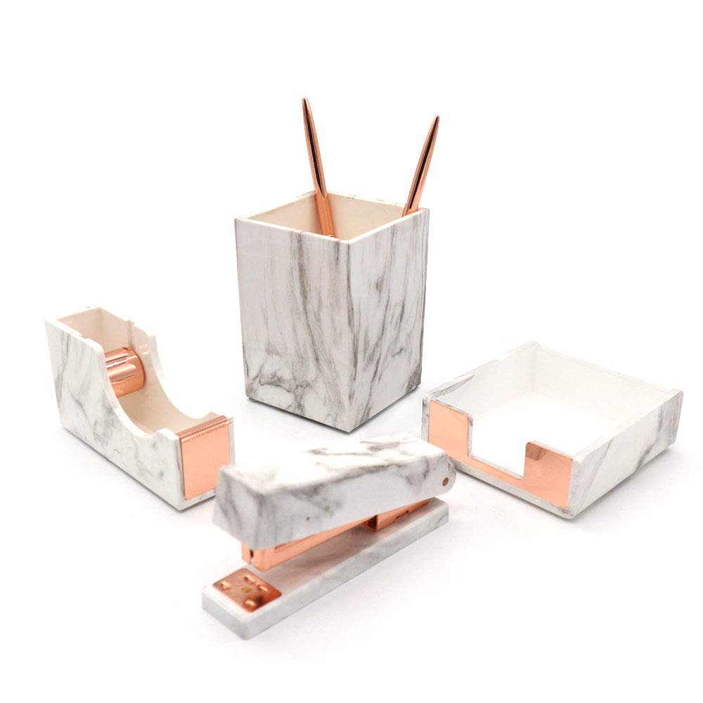 Multibey 2019 4 Pack Office Supplies Kit Stationery Desk Accessories Set Pen Holder Pencil Cup, Tape Dispenser, Stapler, Memo Note Pad Tray (Marble Rose Gold) by MultiBey
