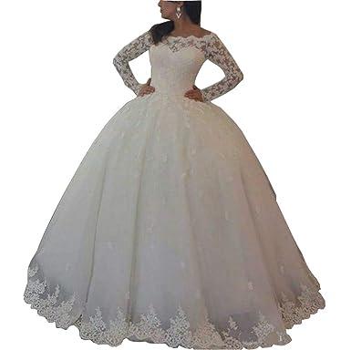 DMDRS Women\'s Lace Long Sleeve Plus Size Winter Wedding ...