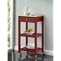 Roundhill Furniture Wood Kitchen Cart on Wheels, Red
