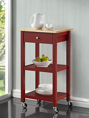 Roundhill Furniture Wood Kitchen Cart On Wheels, Red Features