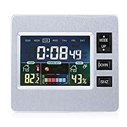 LCD Digital Alarm Clock Weather Forecast Clock Humidity Temp Display Alarm Clock Thermometer Hygrometer Monitor Weather Station for Home Office