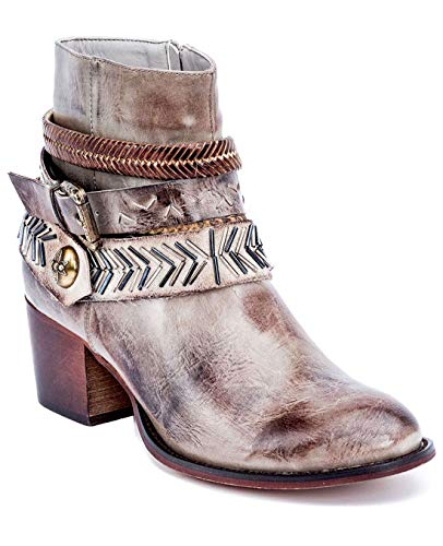 (Gc Shoes Austin Western Ankle Boots - Zip-Up Metal Studded Stacked Heel Boot (7.5 B(M) US, Taupe RND))
