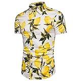 GBSELL Men's Summer Performance Slim Short Sleeve Button-Down Lemon Printed Top Blouse (White, 3XL)