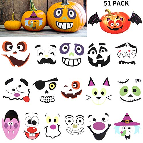 Outus 51 Pieces Halloween Pumpkin Stickers Pumpkin Face Stickers Funny Jack-O-Lantern Face Decals for Halloween Party Decoration (The Best Pumpkin Faces)