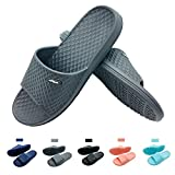 Funkymonkey Mens Womens Bathroom Shower Slippers Indoor Home Beach Non Slip Sandal (US Men 10, Grey)