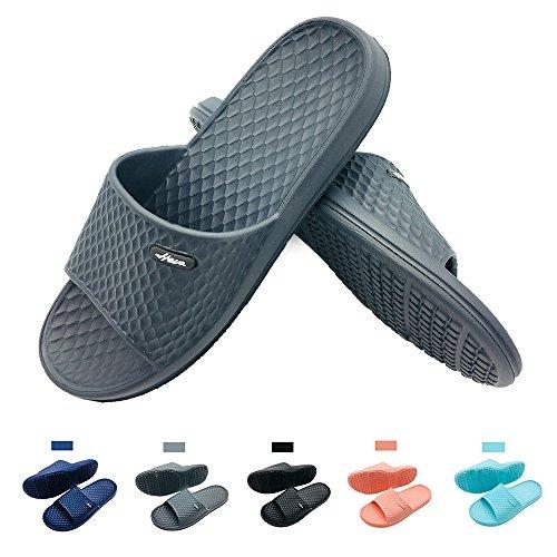 ens Bathroom Shower Slippers Indoor Home Beach Non Slip Sandal (US Men 7, Grey) ()