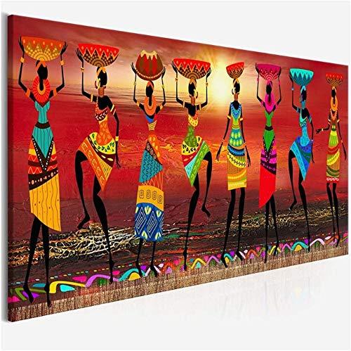 Surfilter Impresion en lienzo Pinturas de arte tribal Mujeres africanas Bailando Cuadro de pintura al oleo para impresion en lienzo Decoracion para el hogar 23 6x70 9 (60x180cm) Sin marco