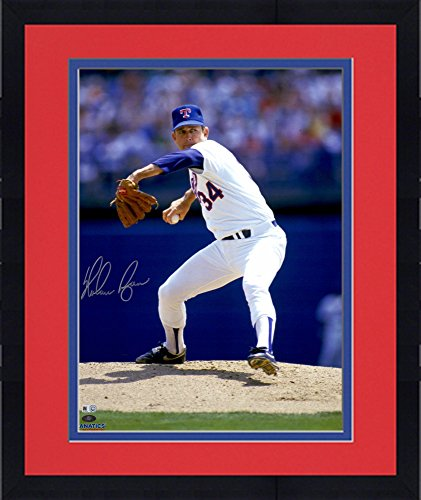 Framed Nolan Ryan Texas Rangers Autographed 16'' x 20'' White Pitching with Ball in Hand Photograph - Fanatics Authentic Certified Hand Signed Pitching 16x20 Photograph