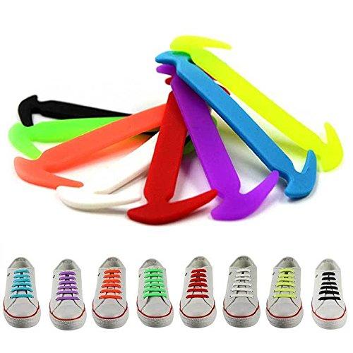 12 pcs Easy No Tie Elastic Silicone Shoe Laces (Red) - 7