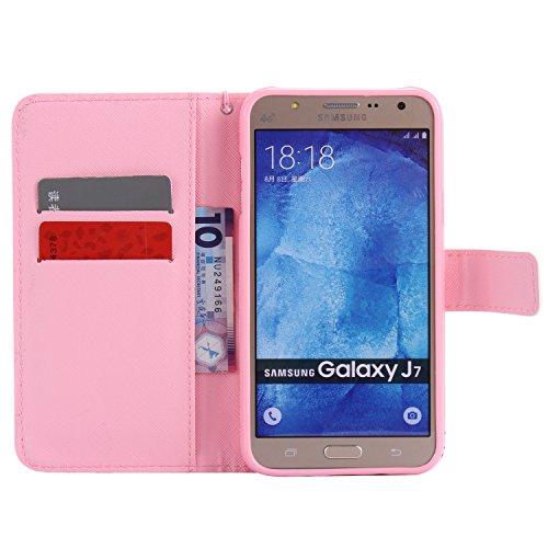 Funda Samsung Galaxy J7 2015 SM-J700F OuDu Carcasa de Billetera Funda PU Cuero Carcasa Suave Protectora con Correas de Teléfono Funda Arbol Flip Wallet Case Cover Bumper Carcasa Flexible Ligero Ultra  Elefante Rosa