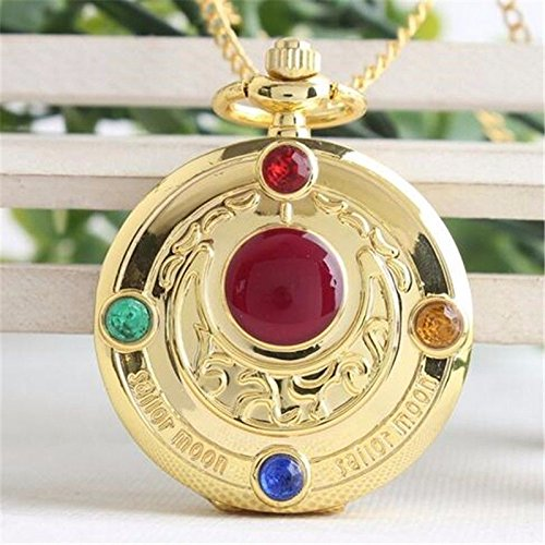 Anime Sailor Moon Vintage Golden Moon Prism Pendant Pocket Watch Necklace - Items Shaped Pentagon