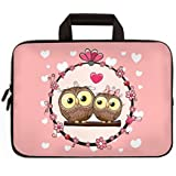 """Universal 7 - 9 inch Kid Tablet Sleeve Portable, Neoprene Carrying Sleeve Case Bag For 7"""" 8"""" 8.5"""" 8.9"""" 9"""" Amazon Tablet,Fire HD 8,Tablet Notebook (Nice Pink Owls)"""