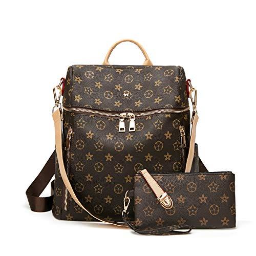 (Backpack for women Fashion Leather Ladies Rucksack Crossbody Shoulder Bag 2pcs Purses Backpack Set)