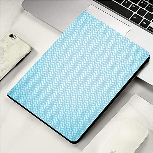 Stylish Print case for iPad air, ipad air2, Soft Back Ultra-Thin TPU Leather Smart case,Aqua Ocean Layers Blue Colored Zig Zag Line Wave Like Image Decorative Turquoise Light Blue Navy Blue and Seaf