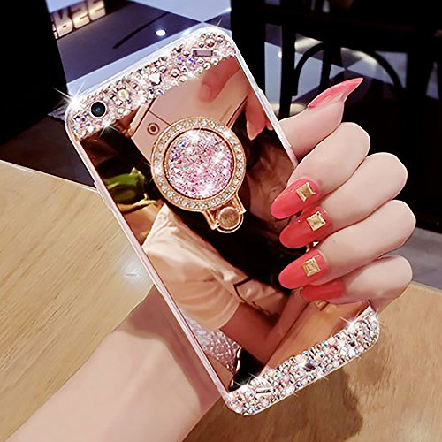 iPhone 6Plus Glitter Diamond Case, TIPFLY Soft TPU Crystal Transparent Bumper Bling Rhinestone Sparkle Mirror Cover with Shiny Strass Ring Stand Holder for iPhone 6 Plus/6sPlus 5.5 inches (Rose Gold) (Rings Strass)