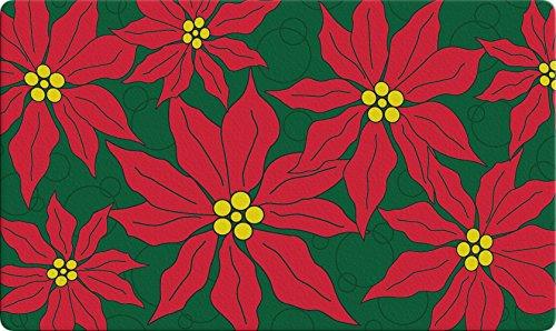Toland Home Garden Pretty Poinsettias 18 x 30 Inch Decorative Christmas Floor Mat Flower Collage Doormat -