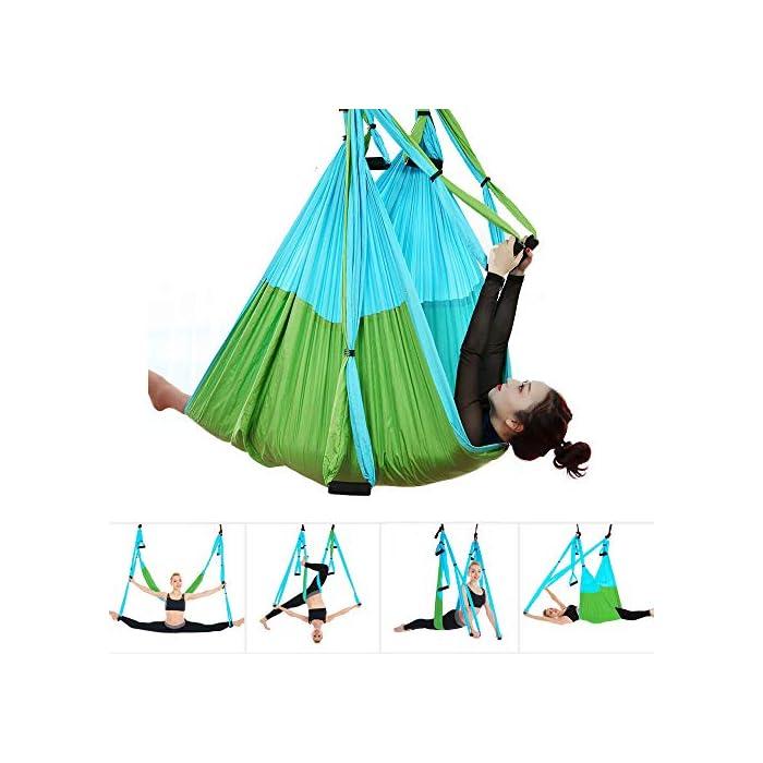 51eGI6pw eL ★Tamaño: 250 x 150 cm. Carga máxima: 400 kg ★Columpio para yoga: Hecho de tela de paracaídas de alta calidad. Gracias a sus cómodas asas acolchadas hechas de espuma, a sus ganchos y a sus cabestrillos, este columpio puede soportar una carga igual al peso de un adulto (hasta 180 kg aproximadamente).para viajes y uso al aire libre ★Fácil de usar: Esta hamaca de yoga de doble punto es fácil de poner y quitar, fácil de limpiar, super cómodo y fácil de ajustar la altura