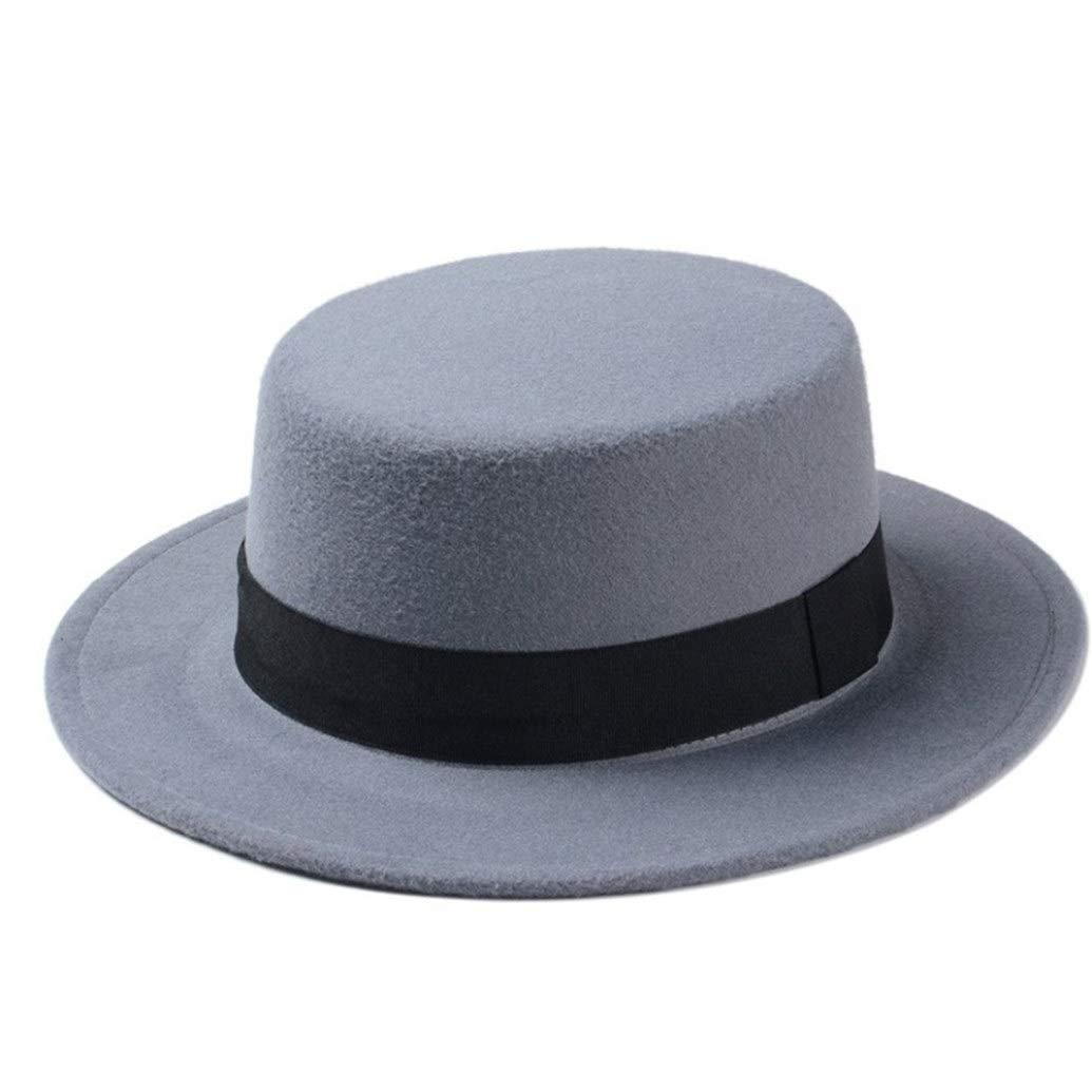 ASO-SLING Womens Wool Felt Wide Brim Fedora Hats Boater Flat Top Hat Pork Pie Hat with Black Band