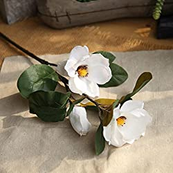 YJYDADA Artificial Fake Flowers Leaf Magnolia Floral Wedding Bouquet Party Home Decor (White)