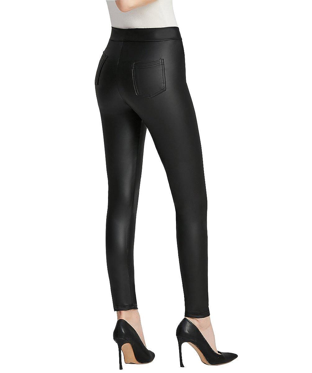 Everbellus Nero Leggings Ecopelle con Tasca per Donna Skinny Pelle Pantaloni L27BXL