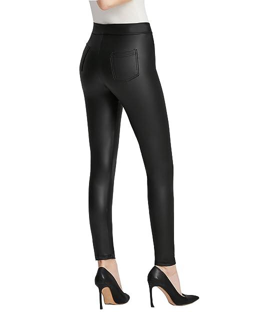 3b6178ac00ae Everbellus Nero Leggings Ecopelle con Tasca per Donna Skinny Pelle Pantaloni:  Amazon.it: Abbigliamento