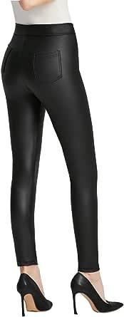 Everbellus Mujer Sexy Negro Leggins Cuero con Bolsillo Skinny Elástico Pantalón