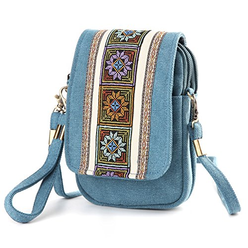 Blue Canvas Crossbody for A001 Cell Lake Bag phone Basic Women Goodhan Purse Coin Girls Size Pouch Embroidery FaHqp5S