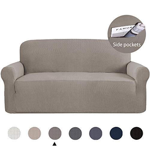Marchtex Skid Resistance 1 Piece Sofa Cover Furniture Protector Armchair Slipcover, Fitted Sofa Protector Stretch Knitted Jacquard Sofa Slipcovers-Taupe, 3 Seater