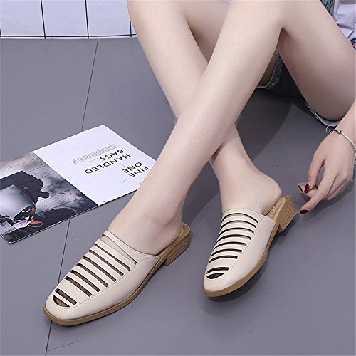 Heel Slide Comfort Slippers Women's Beige Sandals Low Mules Flat Fur Shoes Cloudless Ladies with SR4wH