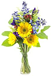 Blue Skies Sunflower and Iris Bouquet -With Vase