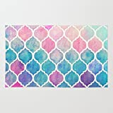 Society6 Rainbow Pastel Watercolor Moroccan Pattern Rug 3' x 5'