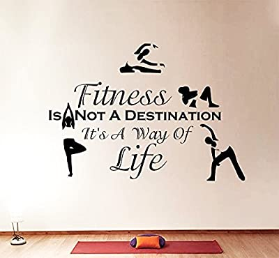 Wall Decals Quotes Sport Fitness Is Not A Destination Vinyl Sticker Gym Living Room Bedroom Decal Home Decor Art Murals DA3800