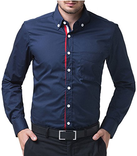 Mens Contrast Inner Long Sleeve Dress Shirts in Slim Fit 5248 Navy, X-Large