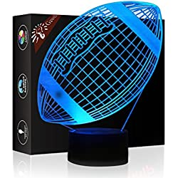 Rugby 3D Illusion Birthday Gift Lamp, Gawell 7 Color Changing Touch Switch Table Desk Decoration Lamps Mother's Day Present with Acrylic Flat & ABS Base & USB Cable Toy for Rugby Sports Theme Lover