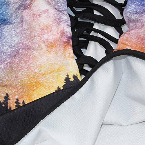 Vandot Mujeres Una Pieza Estilo Étnico Bandera Estampado Halterneck Bikini Señoras Atractivo Hueco Lace-up Escotado por detrás Trajes de Baño Bañador Vendaje Monokini Swimsuit Beachwear, Cielo Estrell Star Sky