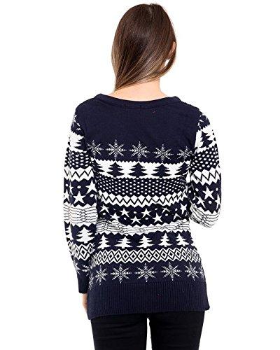 Ladies Womens Árbol de Navidad Fairisle de Navidad de punto novedad jumper top vestido 8–�?6 azul marino