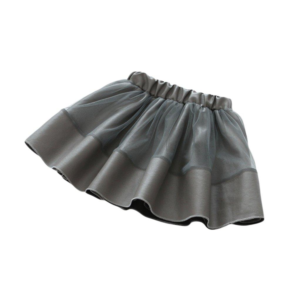 Little Girls Tulle Tutu Skirt Kids Princess Ruffle Skirt Dress PU Elastic Party Wedding Dress Grey 110