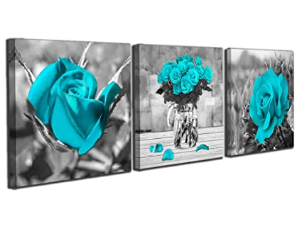 ce6e965cc21 Image Unavailable. Image not available for. Color  Black White Blue Rose  Flowers Wall Art ...