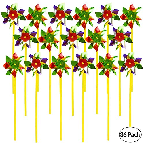 (Bedwina Rainbow Whirl Pinwheel - (Pack of 36) Assorted Colorful Pinwheels and Wind Spinners for Party Favors and Outdoor Lawn Flower Yard Decoration and Garden)