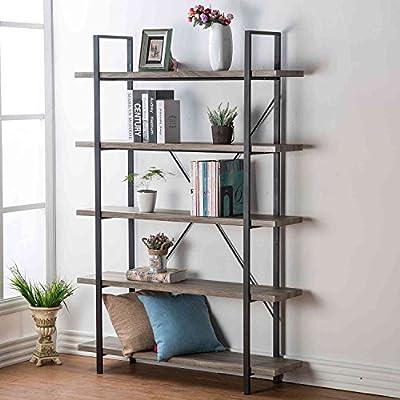 HSH Furniture 2 3 4 5 Shelf Vintage Industrial Rustic Bookshelf, Wood and Metal Bookcase, Open Etagere Book Shelf, Dark Oak