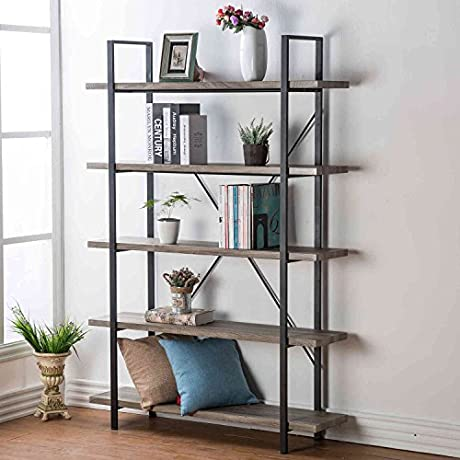 HSH Furniture 5 Shelf Vintage Industrial Bookcase Wood And Metal Rustic Open Bookshelf Dark Oak