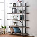 HSH Furniture 5 Shelf Vintage Industrial Rustic Bookshelf Wood