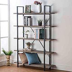 HSH Furniture 2 3 4 5 Shelf Vintage Industrial Rustic Bookshelf, Wood and Metal Bookcase, Open Etagere Book Shelf, Dark Oak