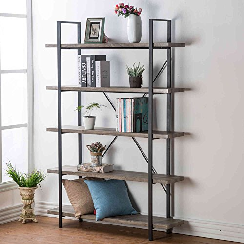 HSH Furniture 5-Shelf Vintage Industrial Rustic Bookshelf, Wood and Metal Bookcase, Open Etagere Book Shelf, Dark Oak