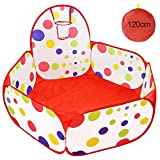 Play Tent Playpen Ball Pit Pool - DOLAIMI Kids Children Tent with Mini Basketball Hoop 3.93 Feet for Toddlers, Pets at Beaches Backyard Camping Kid's Sporting Events or Traveling (Balls not Included)